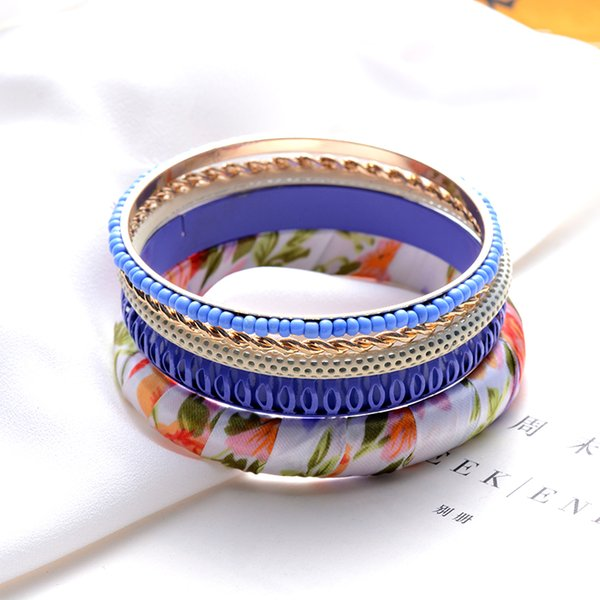 SUKI 5Pcs/Set Women Boho Summer Beach Decor Charms Bracelet Bangles Colorful Arm Cuff Big DIY Tribal Ethnic Bangle Set Pulseiras