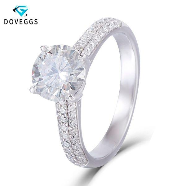 DovEggs 14k 585 White Gold Center 1,5 7,5 mm F Farbe Ausgezeichneter Schnitt Moissanite Diamant-Verlobungsring für Frauen mit Akzenten