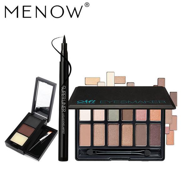 MENOW Brand Make up set Nude EyeShadow Palette & Soft head Eyeliner & Waterproof Eyebrow Powder Cosmetic Kit Drop ship 5341 $