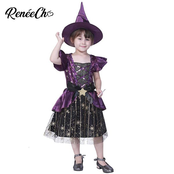 Reneecho Purple Star Witch Costume Girls Halloween Costume for Kids Carnival Party Cosplay Shiny Glitter Children Dress With Hat