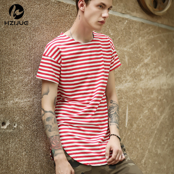 HZIJUE 2018 New Fashion summer Striped Cotton Men T Shirts Hip Hop Kanye West Style Wear Curved Hem black/red Oversized Male Tee