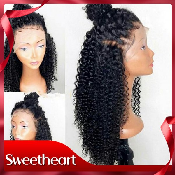 Free Shipping 24Inch Long Black Wig Glueless Synthetic Lace Front Wig High Temperature Fiber Hair Afro Kinky Curly Hair Wigs For Women