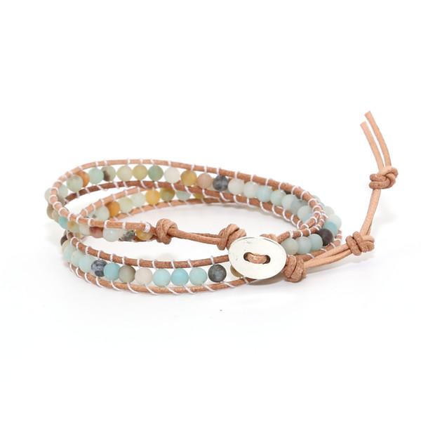 2018 Boho Armband Frauen Naturstein Leder Multilayer Armband Amazonite Handmade Perlen Wrap Drop Shipping