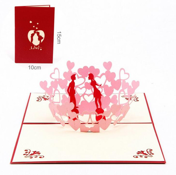 New 3D Pop Up Greeting Cards Invitations Valentine Lover Love Romantic Birthday Wedding Anniversary Greeting Cards Gift Postcard
