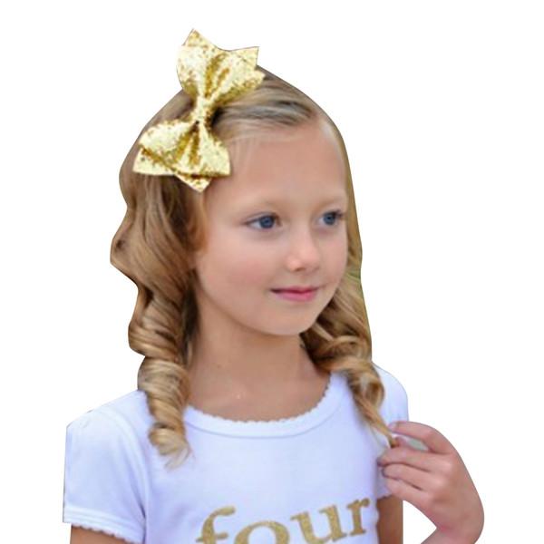 Bebê Meninas Grampo de Cabelo Crianças Crianças Bonito Bowknot Metal + Pano de Cabelo Clipe Meninas Glitter Lantejoulas Grampo de Cabelo Prateado / Dourado