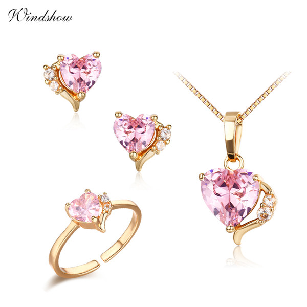 6Colors Cute Peach Heart CZ Yellow Gold Color Pendant Necklace Stud Earrings Ring Small Jewelry Sets for Women Girls Kids Child