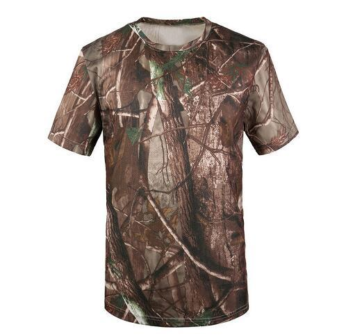 New Climbing Cloth Outdoor Hunting T-shirt Men Breathable Army Tactical Combat T Shirt Military Dry Sport Camo Camp Tees-Tree camouflage