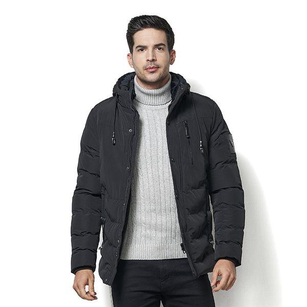 Men's Parkas 2018 Winter New Thick Casual Long Fleece Coat Male Fashion Cotton Hat Keep Warm Jacket - 40 Degee Plus Size 5XL