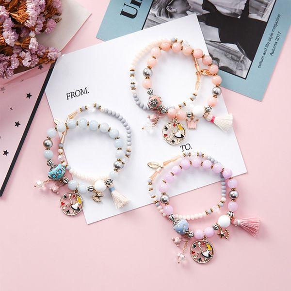 Bohemian style bracelet with rabbit star tassel hand string girl in clock pendants double-deck creative pearl bracelet for girl