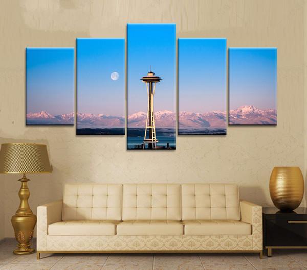 5 UNIDS Pintura Al Óleo Impreso Sobre Lienzo Imágenes Coloridas de la Pared Para la Sala de estar Decoración Arte de la Pared imagen aguja del espacio de seattle 4 k