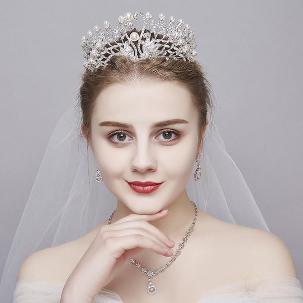 2018 роскошный блеск театрализованное короны стразы свадебные короны свадебные украшения для новобрачных диадемы аксессуары для волос блестящие горничной вечерние платья A626