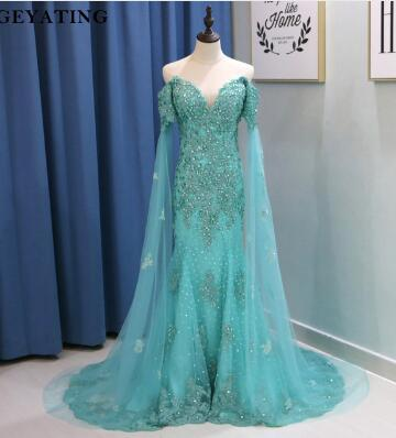 Mint Green Mermaid Evening Dress with Cape Sleeves 2018 Long Off Shoulder Lace Appliques Crystal Arabic Prom Dresses Party Gowns