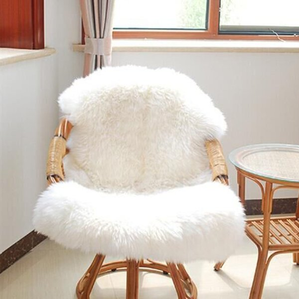 Urijk 1PC Home Soft Sheepskin Chair Cover Warm Hairy Carpet Seat Pad Plain Skin Fur Plain Fluffy Rugs Washable Bedroom Faux Mat Blanket