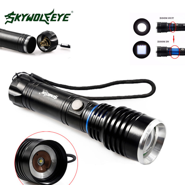 Autodefesa recarregável skywolfeye t71 xm-l t6 led lanterna tocha zoomable 5000 lumen 5 modos de foco da lâmpada flash de luz para o acampamento ao ar livre
