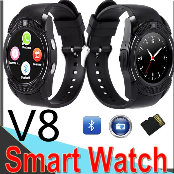 V8 Smart watch Bluetooth Smart Watch With 0.3M Camera SIM And TF Card Watch For Android System S8 IOS Iphone9 Smart phone In Box V811