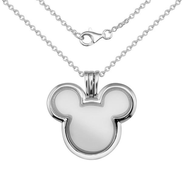 Anweisung Anhänger Halskette 925 Sterling Silber Maus Floating Medaillon Glas Halsketten Anhänger Schmuck Machen Frauen Zubehör