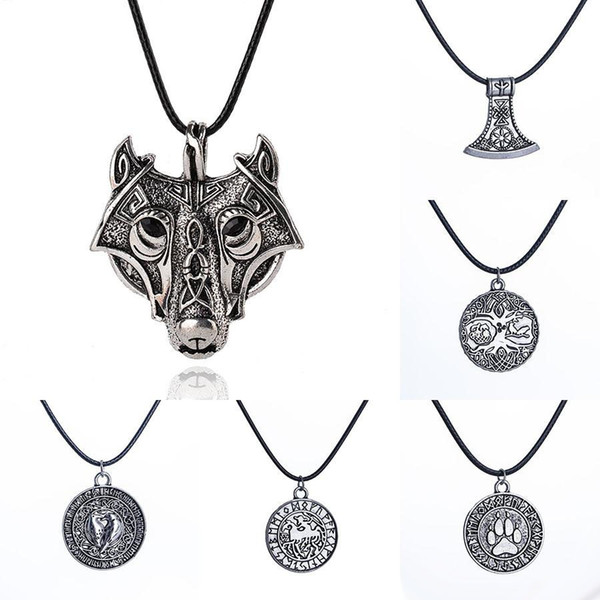 Norse Viking Amulet Necklace Ancient Silver Wolf head Bear paw tree of Life War Horse Pendant Leather rope Chain For Men s Jewelry