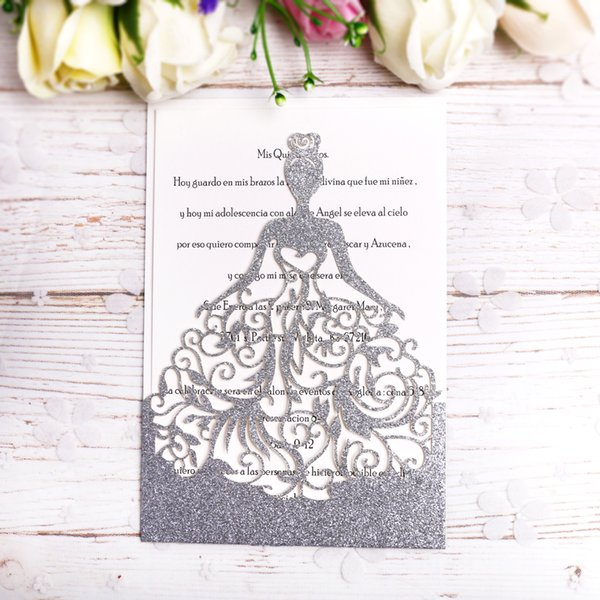 Compre 2019 Silver Glitter Lase Cut Crown Princess Invitaciones Tarjetas Para El Cumpleaños Dulce 15 Quinceañera 16a Invitación Dulce A 0 99 Del