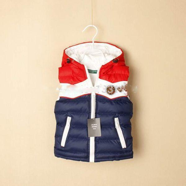 Perakende en kaliteli marka yeni moda ceket bebek / çocuk / çocuk yelek yelekler pamuk erkek yelek sonbahar kış kapüşonlu ceket