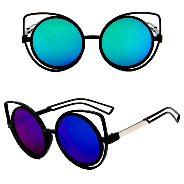 2018 Mirror Flat Lens PC Frame Cat Eye Sunglasses Women Trendy Brand Design Retro Eyewear UV400 Oculos De Sol Feminino