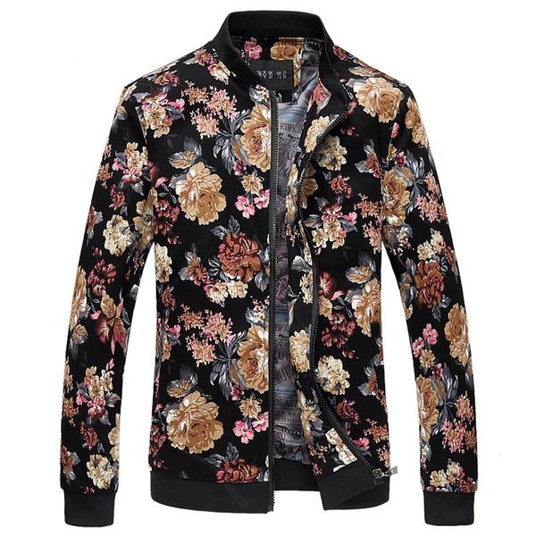 Atacado-Bomber Jacket Men Outono New Men Floral Jackets Hot Coreano Slim Fit manga comprida homens casacos gola Mens roupas blusão