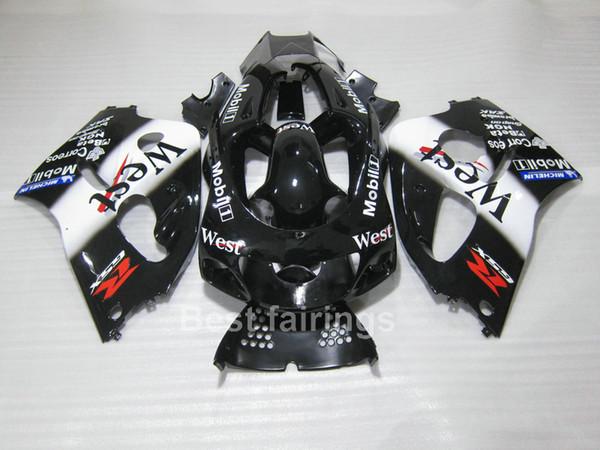 Venta caliente kit de carenado para SUZUKI GSXR600 GSXR750 SRAD 1996-2000 blanco negro GSXR 600 750 96 97 98 99 00 carenados TT57