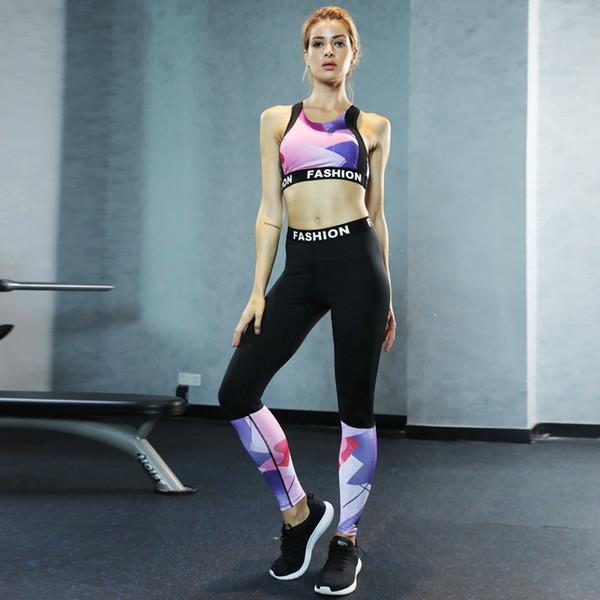 2018 Women Yoga Outfits Fashion Yoga Print Set S-L Sports Wear Running Set Women Sexy Black Fitness Wear