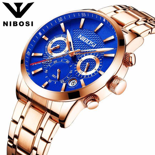 Men's Fashion Business Quartz Watch Metal & Leather Band NIBOSI Chronograph Waterproof Date Display Analog Sport Wrist Watches