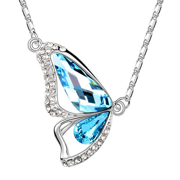 Crystal butterfly pendant necklace with Crystals from Swarovski for women girl kids Christmas fashion jewelry gift 2018