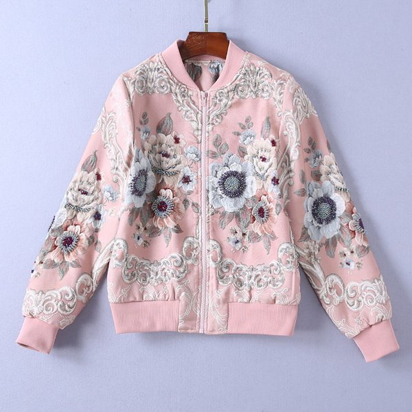 2018 Ladies Luxury Newest 3D Floral Print Beaded O Neck Blouse Women Long Sleeve Fashion Outerwear & Coats Jacket 181116