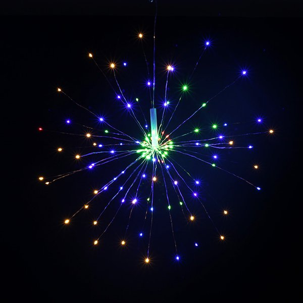 120Led Battery Box Firework Lamp 8 Mode Explosion Star Copper Wire String Light Remote Control Decoration String Light for Party Bar Wedding