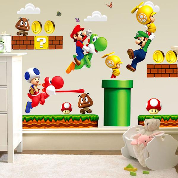 Adesivi Murali Super Mario Bros.Acquista Hot New Super Mario Bros Decalcomanie Murale Della Parete