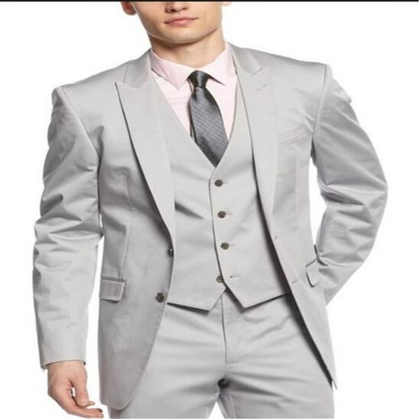 New Fashion High Quality light grey Groom Tuxedos peak Lapel Groomsmen Men Wedding Tuxedos partyProm Suit(Jacket+Pants+vest+Tie)