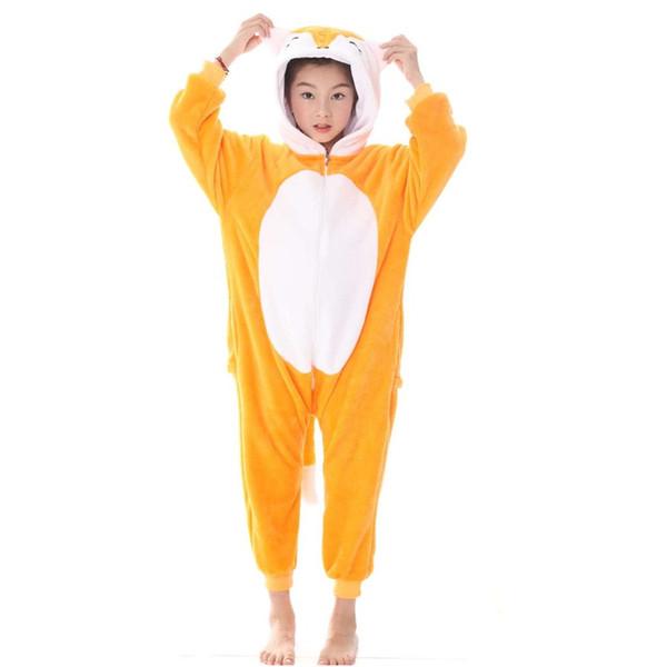 Onesie Kids Pajamas Baby Animals Fox Cartoon Jumpsuits Boys Girls Winter Cosplay Sleepwear Children Pajama MX-038