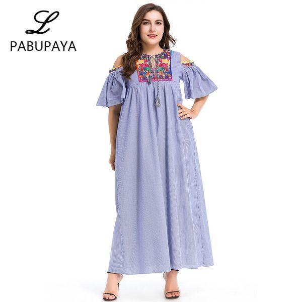 Ropa de estilo nacional de las mujeres musulmanas Casual manga larga vestido largo Abaya traje islámico musulmanes árabes verano Maxi vestido