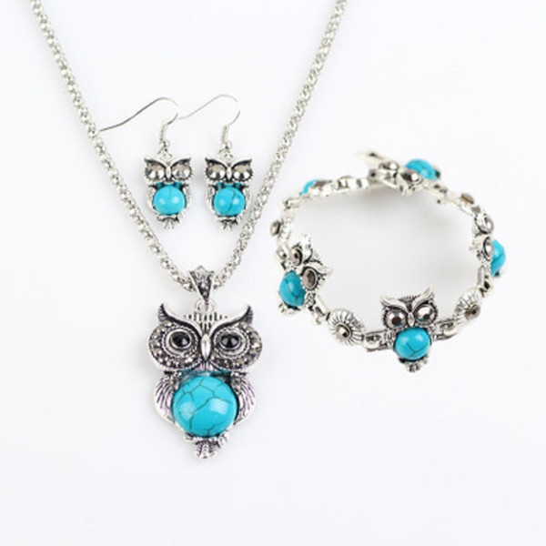Cheap Jewelry Sets Turquoise Owls Earrings Pendant Necklaces Bracelets Set for Women Girl Party Gift Fashion Retro Jewelry Wholesale
