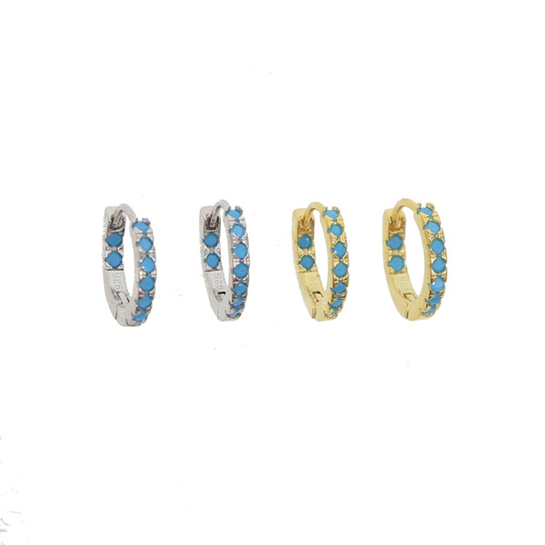 925 sterling silver rhodium gold plated mini hoops paved blue nano turquoiose gemstone elegance minimal huggie hoop fine silver learring