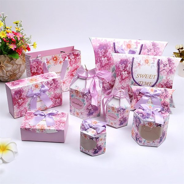 New Design 20*15.5*7cm Wedding Bags and Boxes European Floral Wedding Gift Bag Dessert Cookies Stroage Wrap Box