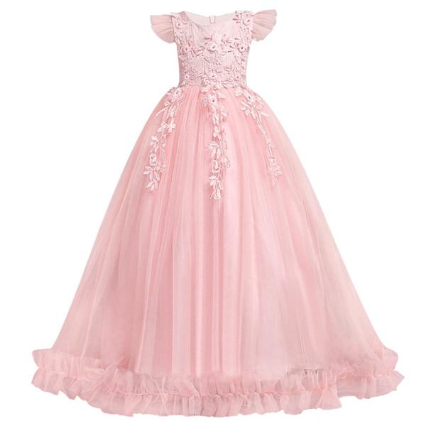 Prinzessin Blumenmädchen Kleider Ballkleider Cap Sleeves Applikationen Geburtstag Party Weihnachten Kleider für Mädchen Hochzeit Gast Kleid formelle Kleidung