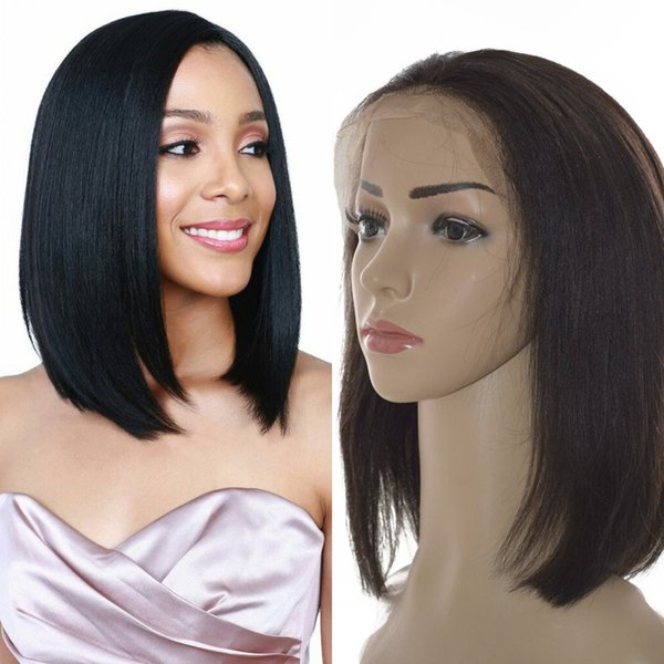 Indian Straight Short Human Hair Wig for Women Pre Plucked Lace Front Bob wig with Natural Hairline FDshine