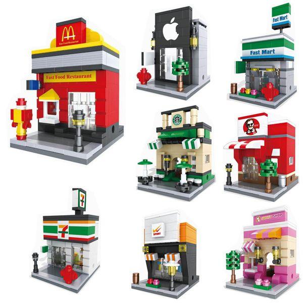 Popular mini treet cene retail tore mini 3d model building block architecture toy upermarket apple kfc mcdonald 039 h ane