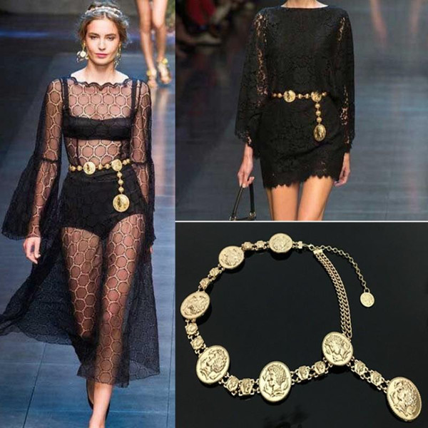 Fashion Gold Women Dress Belts Anti Wear Retro Metal Tassel Waistband Non Elastic Force Waist Chain Top Quality Party Decor Waist Strap