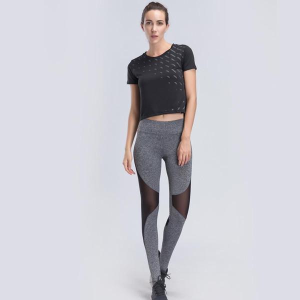 BARBOK Summer Yoga Shirt Set Sport Suit Short Sleeve Sportwear T Shirt Running Jogging Training Tops Solid Women Workout Clothes