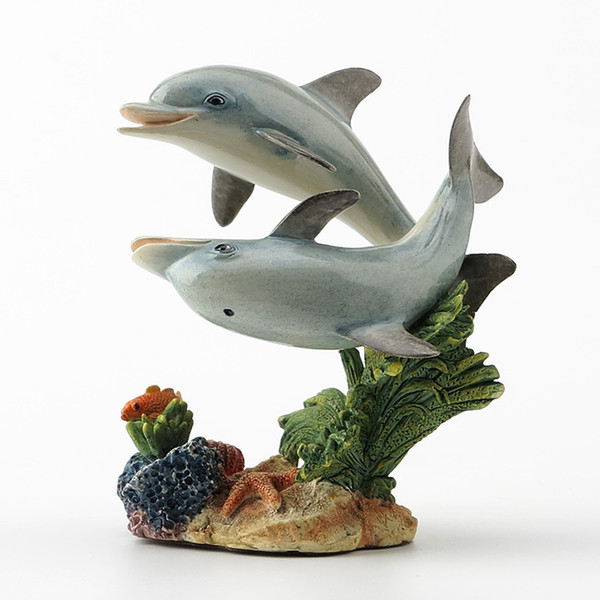 British designers, two dolphins, realistic animal decorations. Resin ornaments sculpture soft home furnishings
