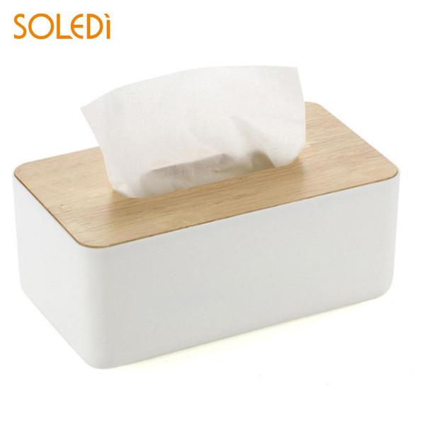 Wood Storage Basket Storage Box Tissue Box Multifunctional Domestic Table Space Saver