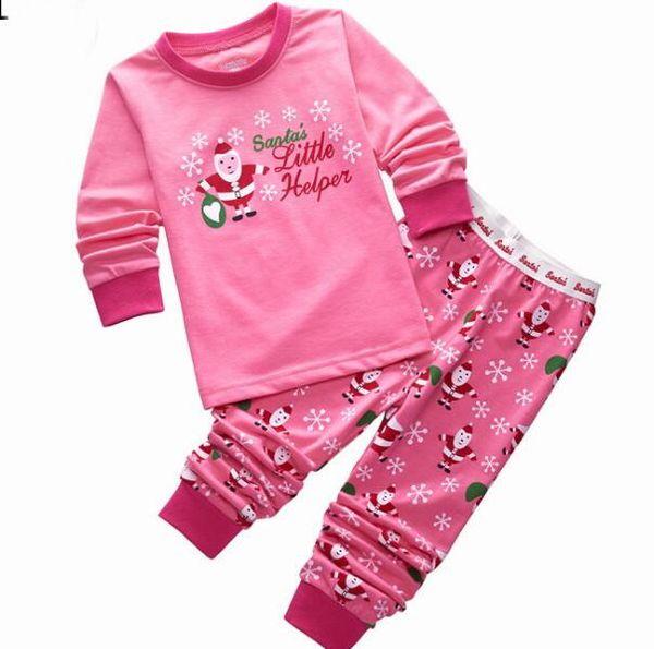 baby boys girls christmas pajamas kids long sleeve tshirt pant xmas pjs cotton pajamas children striped night wear p122 - Girls Christmas Nightgowns