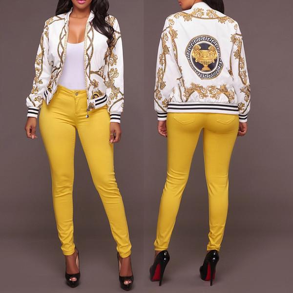 Sonbahar Bayanlar Bombacı Ceketler Baskılı Uzun Kollu Retro Beyzbol Ceket Kadınlar için Beyaz Siyah Baskı Temel Dış Giyim Giysi S-XL