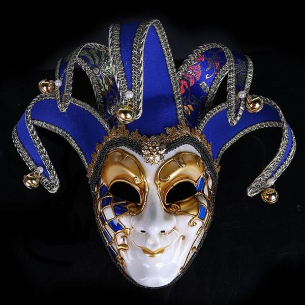 hanzi_masks Venice Mask Jester Jolly for Costume Party Masquerade Carnival Dionysia Halloween Christmas Classic Italia Mask Full Face