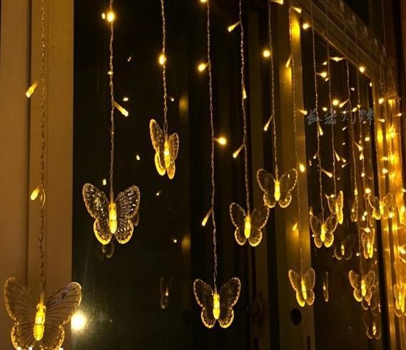4m100led широкая звезда бабочка занавес светодиодные фонари строка мигает свадебный номер макет украшения