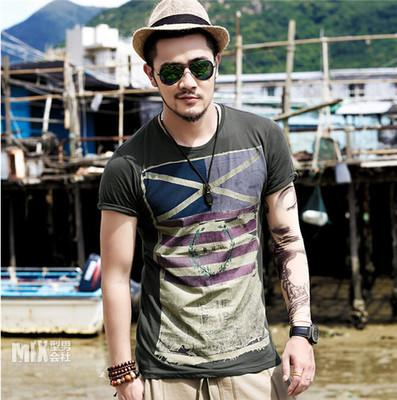 Wholesale printing design tee shirts slim fit cotton men's casual sports T-shirt